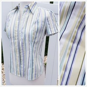 🆕NY&C Short Sleeve Striped Button Down XS